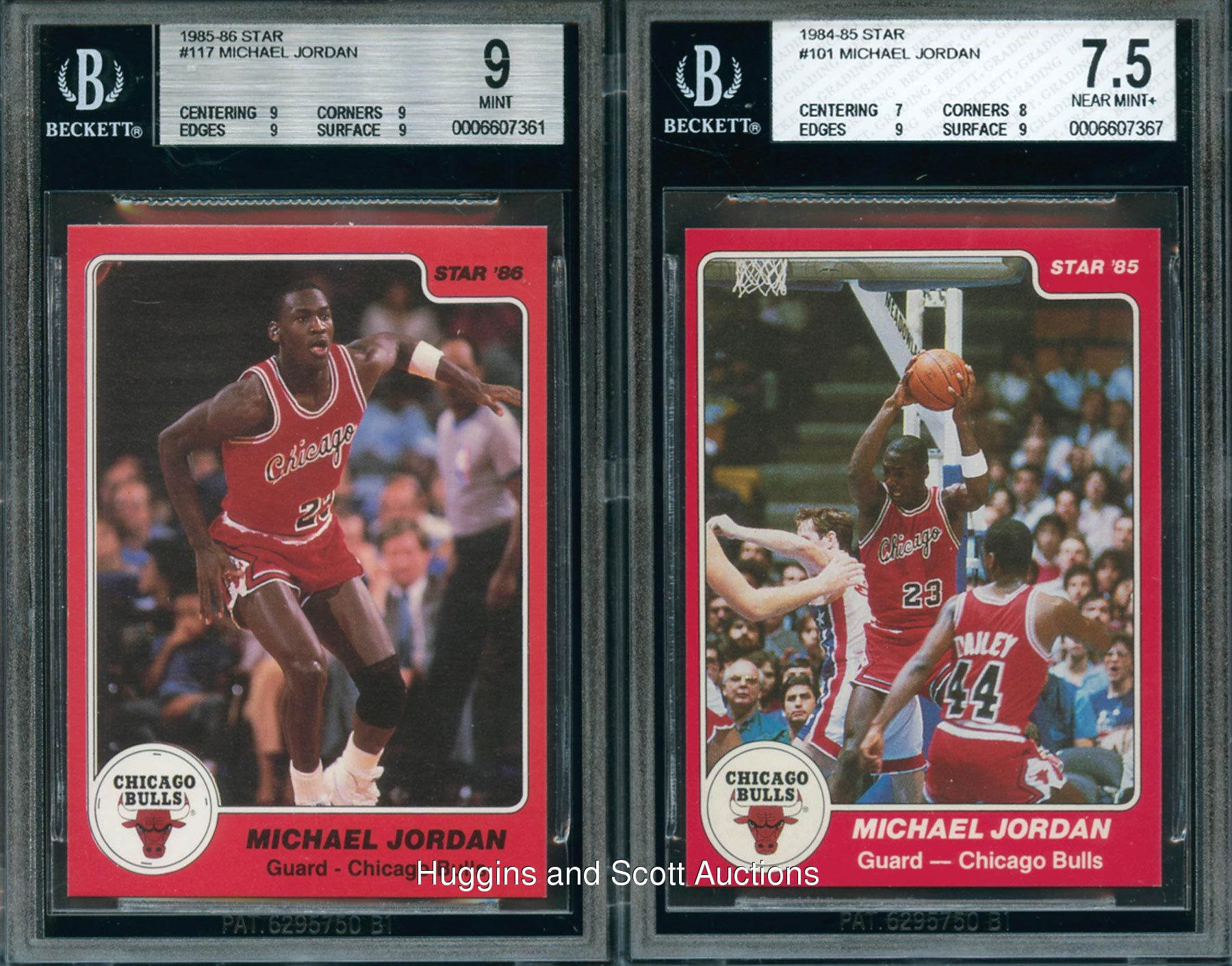 2 1984 1986 Star Basketball Michael Jordan Cards With Rookie Both BGS